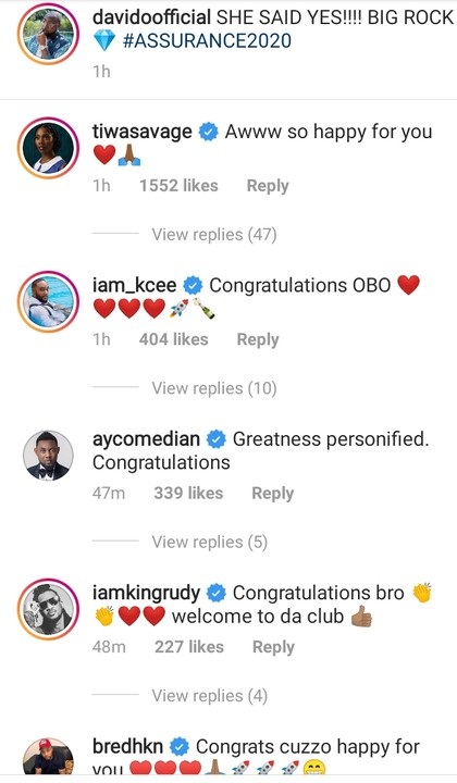 Wizkid's Baby Mama, Tiwa Savage, other celebrities congratulate Davido on marriage Proposal 3