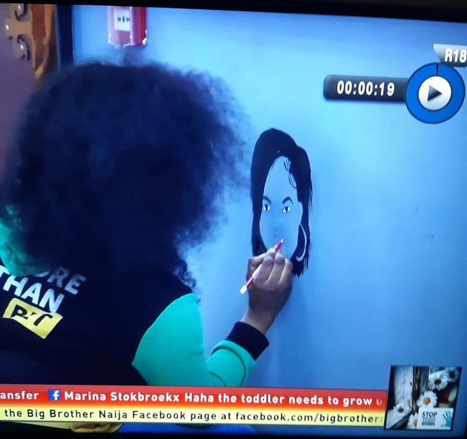 #BBNaija: Tacha shows her creative facet, draws a personalized graffiti herself