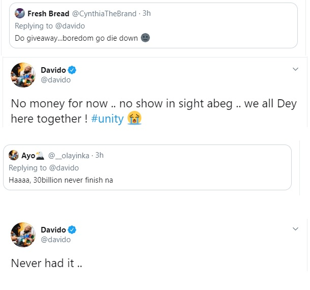 Davido claims he has run out of money, says he never had the 30 Billion. 1