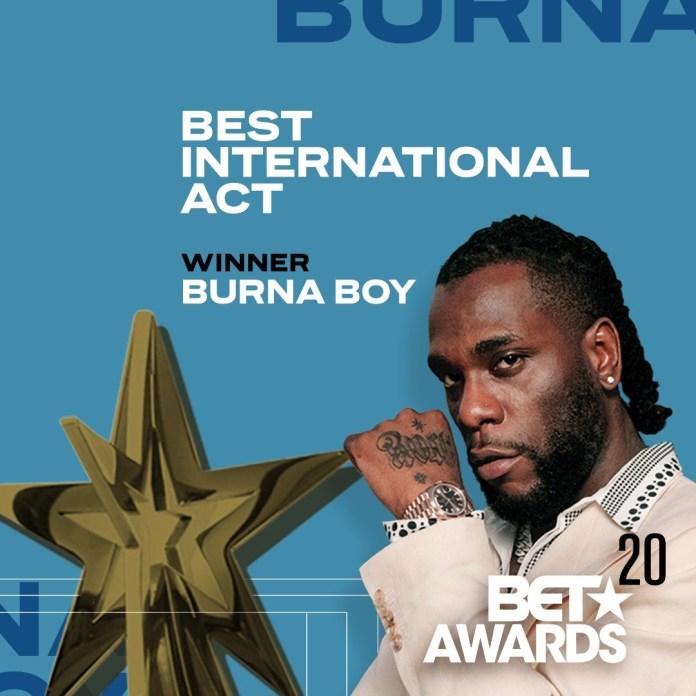 Burna Boy wins 2020 BET Best International Act award.