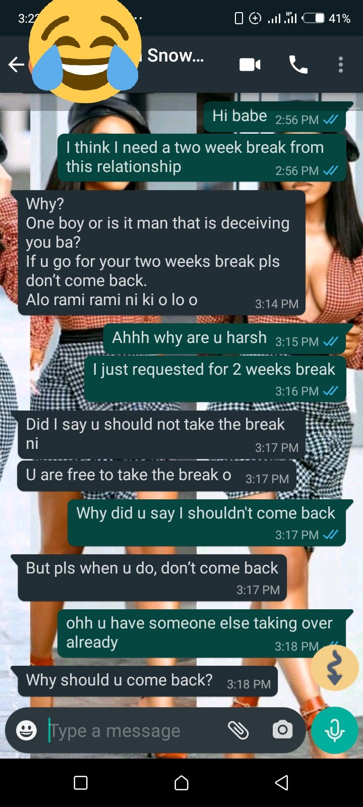 """Hilarious screenshots of people pranking their partners by saying they need a """"two-weeks"""" break 13"""