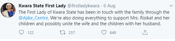 Kwara governor's wife offers