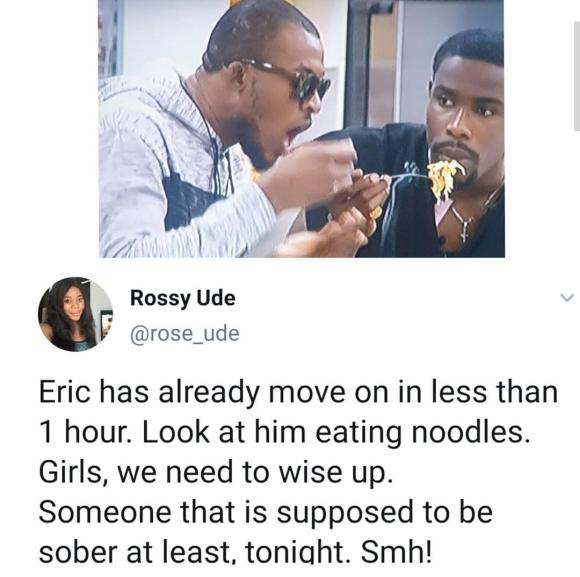 Nigerians drag Eric for eating 'noodles' barely an hour after Lilo was evicted