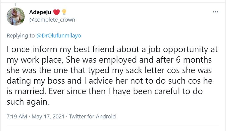 """""""How my best friend got me sacked after I helped her secure a job at my workplace"""" - Lady narrates"""