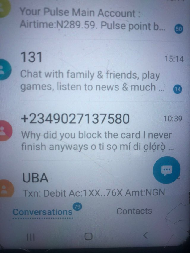 Lady shares messages her dad received from a fraudster who siphoned over N100k from his bank account