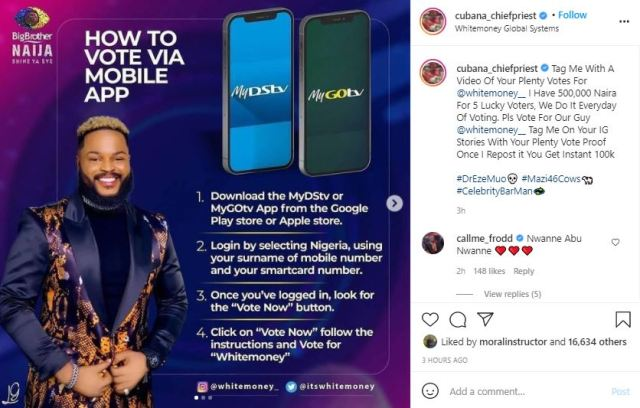 """#BBNaija 2021: """"I have N500k for 5 aggressive voters"""" - Cubana Chief Priest drums support for WhiteMoney"""