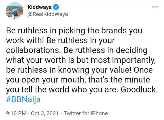Kiddwaya advises