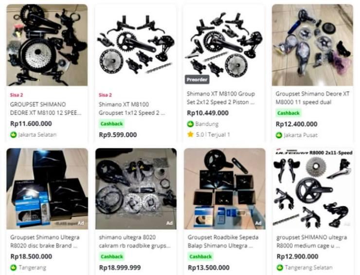 Contoh Harga Komponen Sepeda di E-Commerce