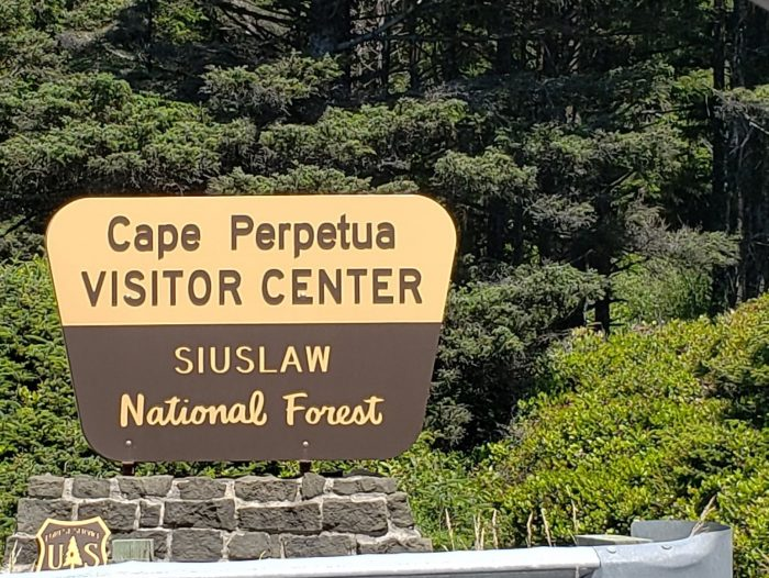 Cape Perpetua Visitors Center Sign, 3 miles S of downtown Yachats, OR