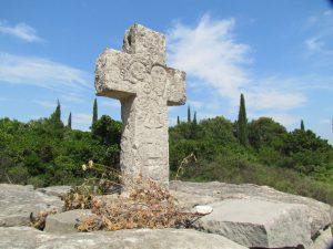 Old crosses along the walk