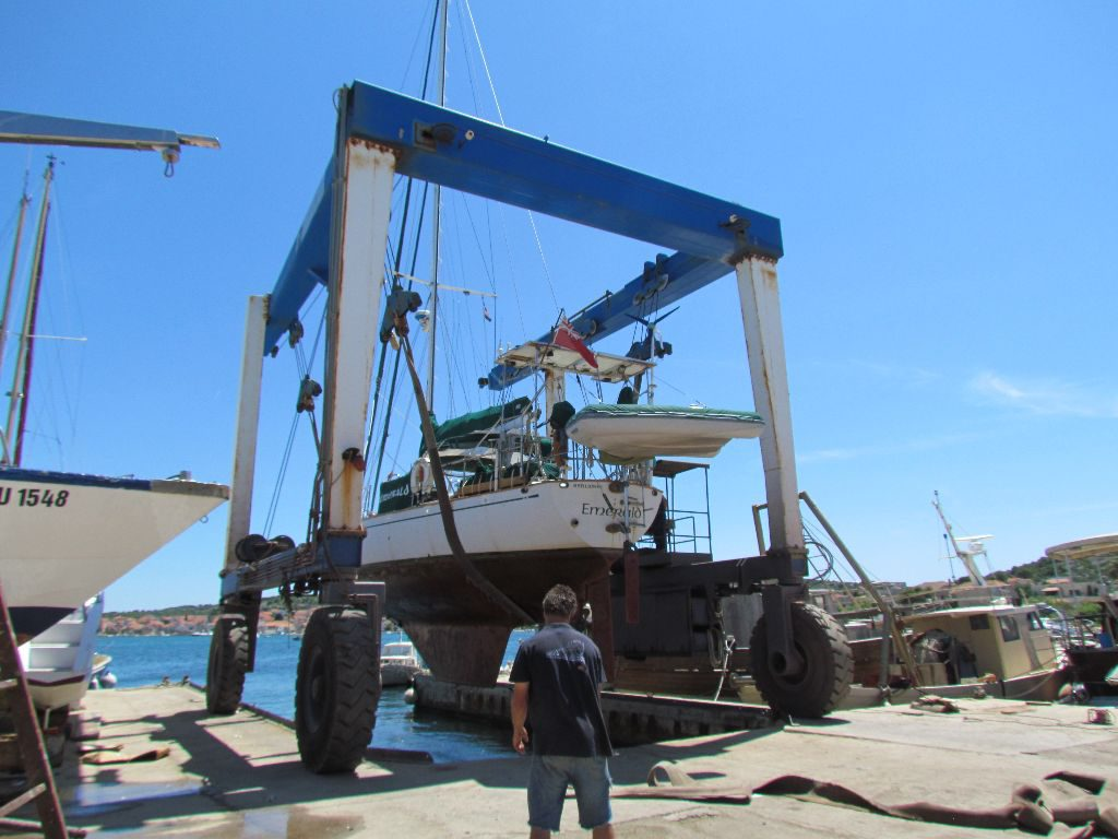 Emerald is lifted out of the water
