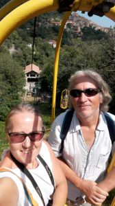 Off we go on the cable car