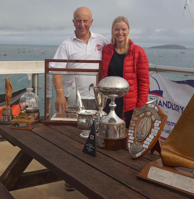Champions Guy Davison and Sally Wakefield with their 'haul' during the Firefly Nationals at Abersoch - photo © Frances Davison