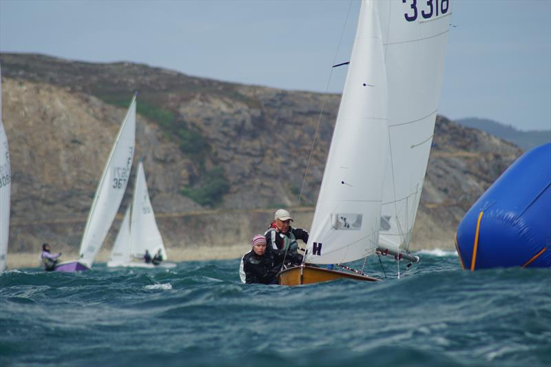 Series leaders Davison and Wakefield approaching the mark on Race 7 on Thursday during the Firefly Nationals at Abersoch - photo © Frances Davison