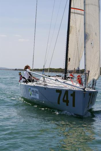 Nikki Curwen during the UK Solent 6.50 Mini race