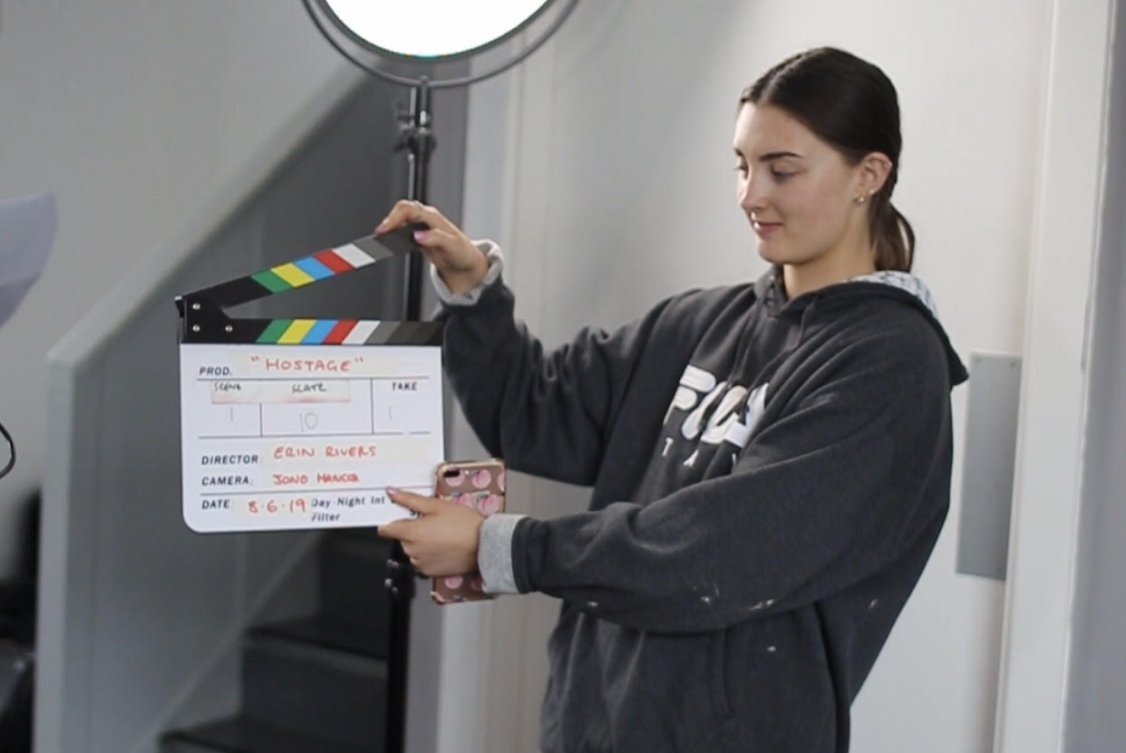 Erin and clapper board