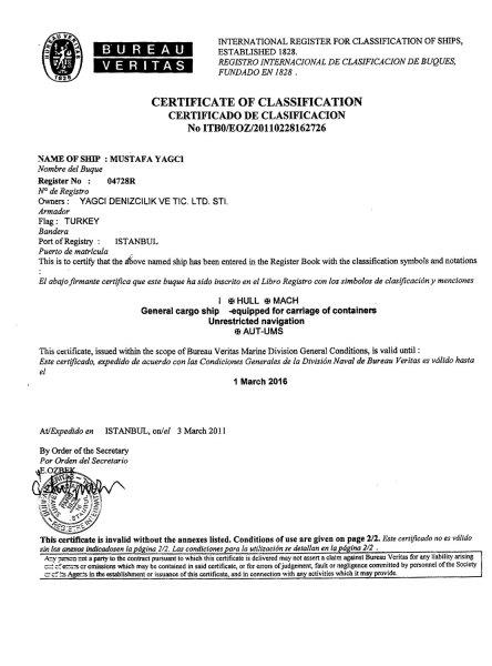 Class Certificate