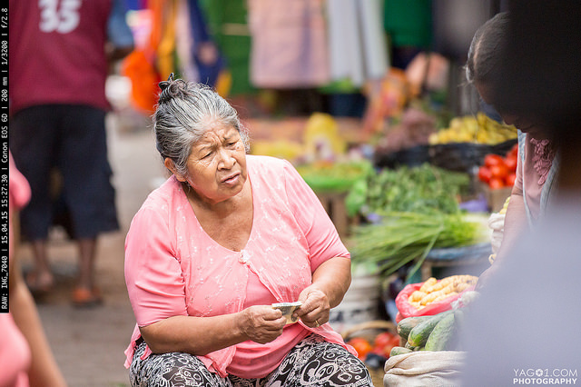 Old lady in the street market in Santa Cruz 16580819584_42682323af_z