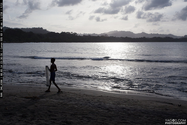 Boy fishing at Puerto Viejo