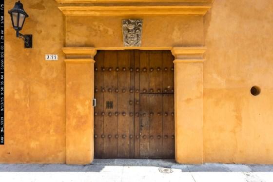 Old Yellow Colonial Door Cartagena de Indias Colombia