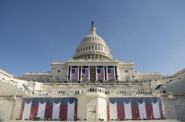 A rehearsal for the inauguration of President-elect Donald Trump take place at the US Capitol in Washington, DC