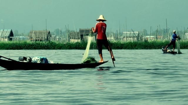 Myanmar Lac Inle pêcheurs