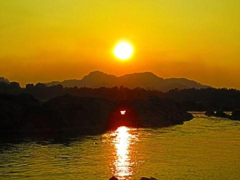 Laos 4000 îles Don Khone plage Xai Kong Nyai coucher de soleil