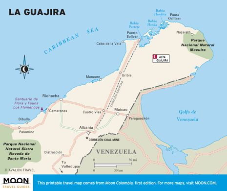 Carte péninsule de la Guajira en Colombie