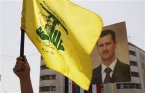 Hezbollah flag- assad poster