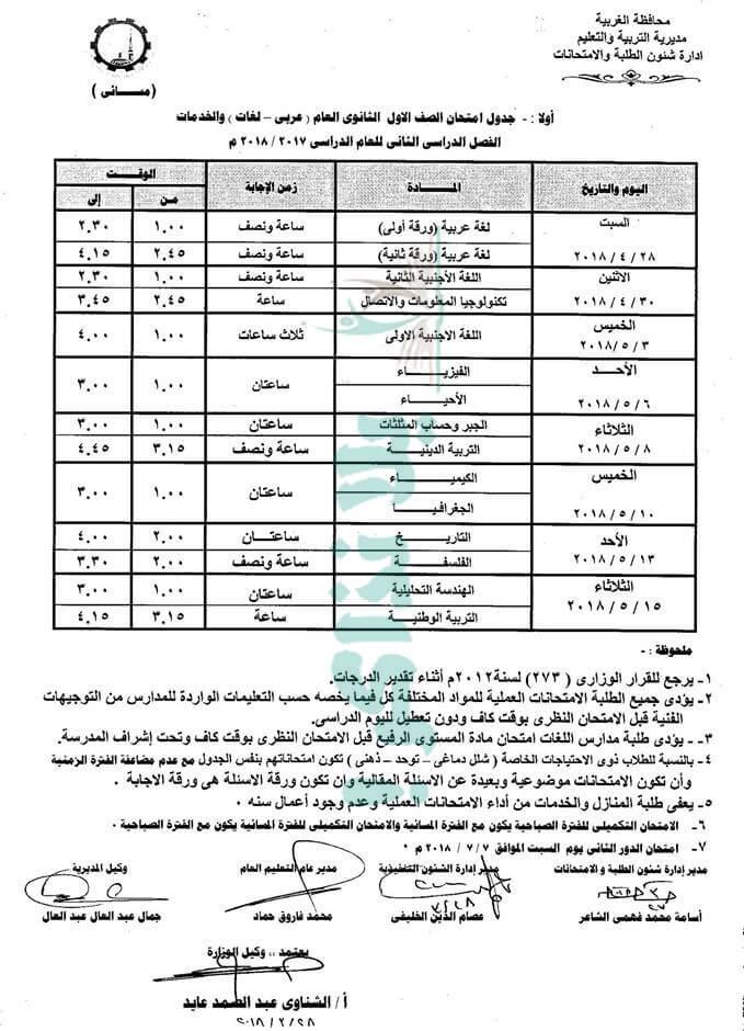 جدول امتحانات الصف الاول الثانوي 2018 الترم الثاني محافظة الغربية