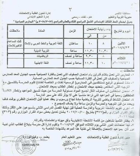 جدول امتحانات الصف الثالث الابتدائي اخر العام 2018 محافظة الاقصر