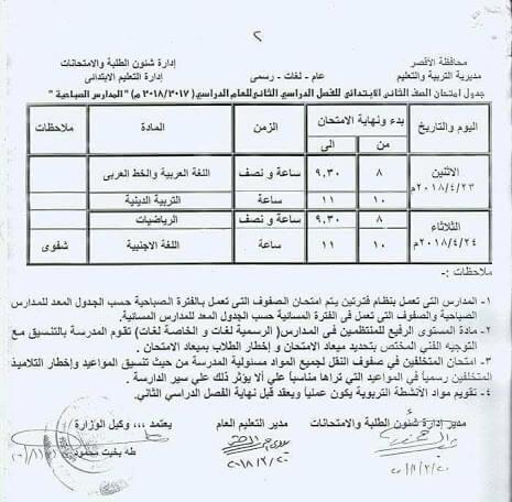 جدول امتحانات الصف الثاني الابتدائي اخر العام 2018 محافظة الاقصر
