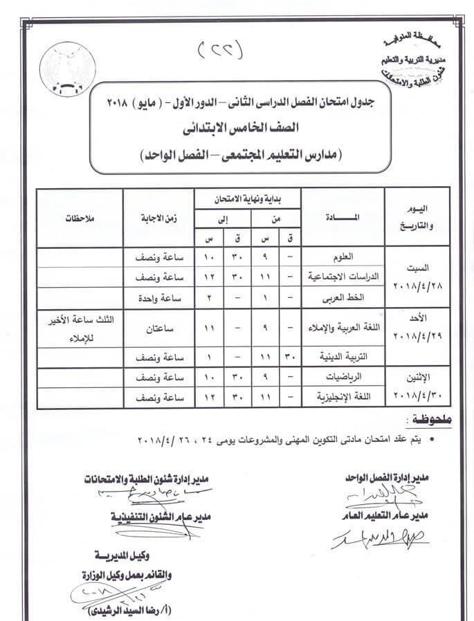 جدول امتحانات الصف الخامس الابتدائي اخر العام 2018 محافظة المنوفية