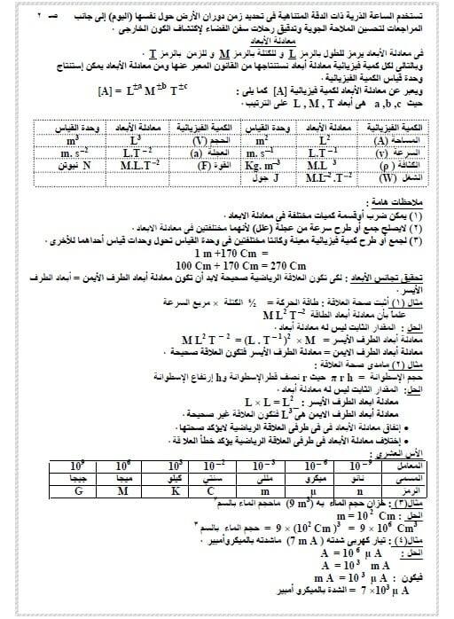 مذكرة فيزياء للصف الاول الثانوي
