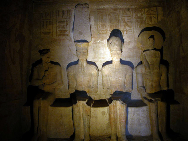 Each year, on February 22 and October 22, the sun's first rays shine on the gods Ra-Harakhty and Amun Ra and Ramesses II in the inner sanctuary of the great temple at Abu Simbel. The god Ptah remains in the shadows.