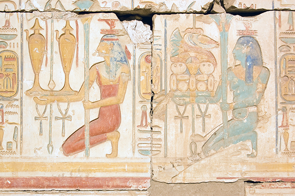 wall painting in the Rameses II Temple, Abydos