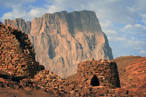 Beehive tombs at al-Ayn, Oman with Jebel Misht behind