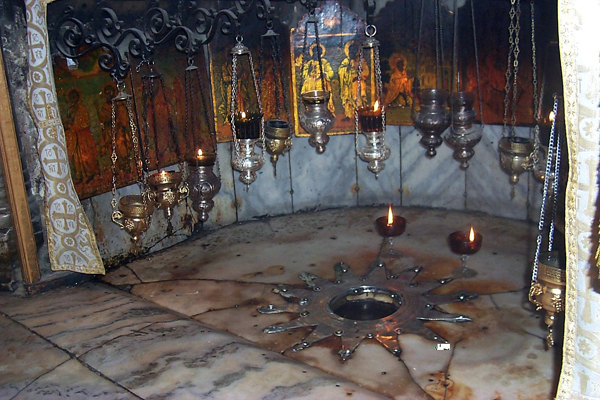 The very spot upon which Jesus was born, according to tradition. This is in a cave under the Church of Nativity in Bethlehem.