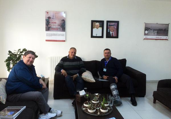 November 2015 - Ya'lla Tours president Ronen Paldi (left) at Caritas Jordan headquarters in Amman with Caritas Jordan General Director Mr. Wael V. Suleiman (center) and Ya'lla's partner in Jordan Mr. Jack Farraj