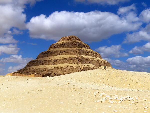 the Step Pyramid at Sakkara, a prototype of the pyramids at Giza