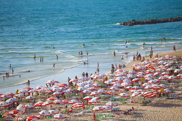 a Mediterranean beach in Tel Aviv, photo by Dana Friedlander