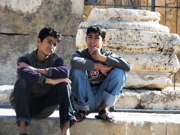 boys at Jerash