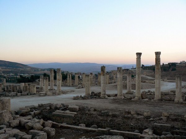 sunset at Jerash