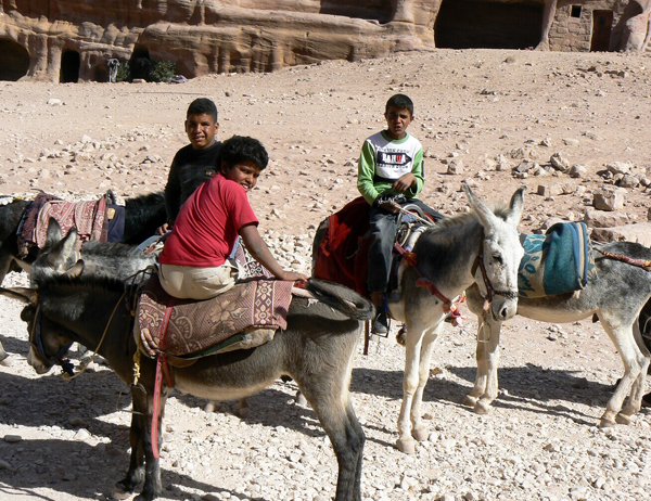 boys and their donkeys at Petra