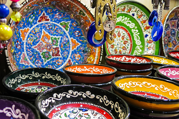 hand painted bowls in the Grand Bazaar, Istanbul