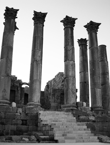 Corinthian columns in the Roman city of Jerash, north of Amman