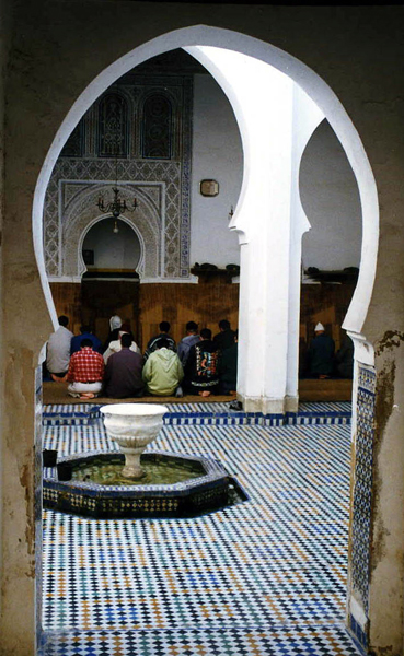 peeping through the doorway of a mosque in the Fez medina