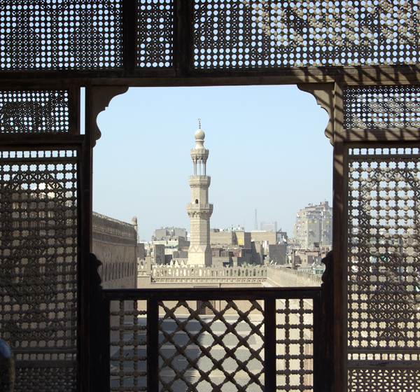 looking out on a minaret of the Ibn Tulun Mosque from the rooftop terrace of the Gayer-Anderson Museum, Cairo