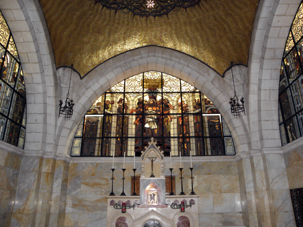Church of the Flagellation, center altar window showing Jesus being scourged and crowned with thorns