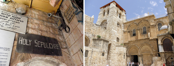 the Via Dolorosa ends at the Holy Sepulchre Church, where Jesus was crucified, buried and resurrected, according to some traditions